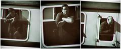 Time passengers (Neil. Moralee) Tags: neilmoralee steamwsrneilmoralee men man face train carriage passenger west somerset railway bishops lydeard sepia toned aged vintage steam enthusiasts neil moralee nikon d7200 lightroom time age historic festival gala window express watchet station sunshine black white bw blackandwhite bandw mono monochrome effect tripple three 3 pane sections lean