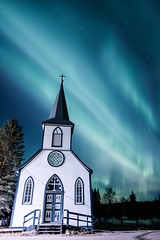 Our Lady of Good Hope (Kristaaaaa) Tags: building religion church auroraborealis autumn canada fujixt2 fujifilm light night north northernlights northwestterritories nwt sky skyscape