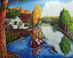 I D Y L L. (tomas491) Tags: idyll birds duck mallard trees river sailboat flowers house clouds sunny wheel flag mountains fishes