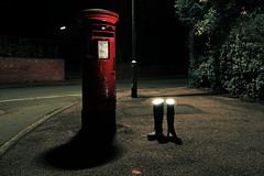 The mysterious dematerialisation of Uncle Wilberforce (Apionid) Tags: wellingtons disappearance dematerialisation postbox pillarbox suburbia night werehere hereios nikond7000 lichfield