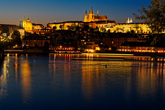 Prague. (kopiecmarcin) Tags: praha prague prag praga czech long night blueyellow city water europe travel castle olympus omd lumix