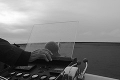 Hand of Power (absoluteforecast) Tags: boat throttle black white hand sea chrome