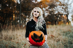 (tryniti almquist) Tags: girls pumpkin halloween all hallows eve autumn fall spooky spoopy creep dark gothic jackolantern girl model lady photoshoot long hair depth field tryniti almquist smoke fog stripes tim burton pretty lets play pretend imaginary imagination conceptual manipulation