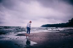Nordstrand (tonyhoertrauschen) Tags: x100f girl nature balticsea sky cloud sand beach ocean colour love mood art deutschland fuji 50mm purpur blue water landscape sea people