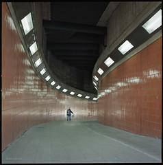 * (Konrad Winkler) Tags: berlin icc tunnel licht unterführung mensch passant kodakportra160 mittelformat 6x6 hasselblad503cx epsonv800