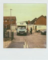 Polaroid 1000 - Impossible Film  (3) (meniscuslens) Tags: fish chips queue van street cheddington house polaroid impossible film vintage camera instant buckinghamshire