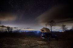 Linville Gorge, North Carolina (Mark Wingfield) Tags: truck tent nikon d850 tokina 16mm 11mm wide long exposure stars stellar reflection cloulds north carolina linville tripod lowlight dark lights city rocks
