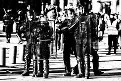 Why ?.... (JM@MC) Tags: police streetphotography marseille france protest demonstration blackandwhite noiretblanc