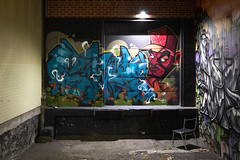 Urban Gallery (cookedphotos) Tags: 2018inpictures toronto ontario canada ca canon 5dmarkiv streetphotography urban art graffiti mural alley loading dock chair night 365project p3652018