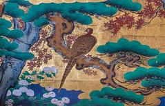 Shoji Grouse (campra) Tags: japan 日本 temple buddhist buddhism shoji 障子 painting door gold landscape grouse tree