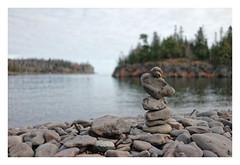 FoundCairn (brnpttmn) Tags: lakesuperior littletwinharbors dof cairn found beach northshore minnesota sonya7 sonyzeisssonnart35mmf28za