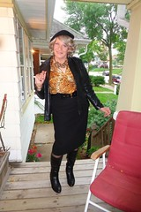 Seventy-One Year Old Woman Trying Very Hard To Look Adorable (Laurette Victoria) Tags: porch boots beret jacket animalprint pencilskirt laurette woman