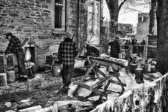 Lumberjacks (stephaneblaisphoto) Tags: abandoned architecture building exterior built structure damaged day forest group people men nature occupation old outdoors place worship real standing tree working lumberjack lumberjacksà canada
