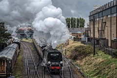 At Beeches Road (Peter Leigh50) Tags: steam west country locomotive loughborough great gcr gala central railway railroad rail factory industrial train trains track transport bus midland red fujifilm fuji xt2