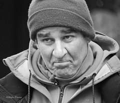 faces of Montmartre-3 b&w (albyn.davis) Tags: blackandwhite face expression emotion portrait people street man