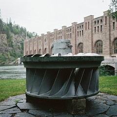 Water turbine (hjnship) Tags: turbine powerplant rolleicordv portra400 xenar75mm 6x6 120 mediumformat analog trollhättan tlr