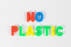 No plastic written with colorful letters (wuestenigel) Tags: letters spelling plastic colorful no yellow whitebackground red