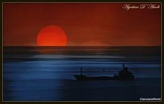 Poster con nave al tramonto - Settembre-2018 (Agostino D'Ascoli) Tags: agostinodascoli nikon nikkor photoshop creative art digitalart texture mare sunset tramonto nave