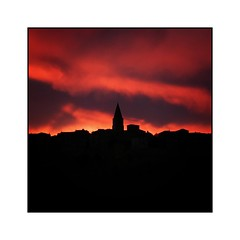 Red clouds (Jean-Louis DUMAS) Tags: carré square sunset puycelsi village soleil sky ciel silhouette black red