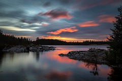 Sunset Peace (Dan Fleury Photos) Tags: wideangle canon blue pink longexposure le reflection lake water sunrise lakesuperior superior wawa ontario canada cans2s