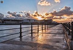 Liquid Gold (alundisleyimages@gmail.com) Tags: newbrighton promenade marinelake weather sunset sunbeams clouds sky wirral merseyside railing homes reflections distance tourism visitors shopping cinema walkway maritime resort