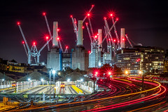 Battersea Power Station (Rich Walker Photography) Tags: battersea london longexposure longexposures longexposurephotography city cityscape landscape landscapes landscapephotography night nightshot nighttime lights lighttrails light industrial train tracks crane cranes