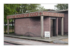 The Built Environment, East London, England. (Joseph O'Malley64) Tags: church chapel playgroup thebuiltenvironment newtopography newtopographics building structure steelreinforcedconcrete brickcladding brickinfills brickwork bricksmortar cement pointing concretecolumns sign signage signframe woodendoors doorway doors entrance exit londonplanetrees steelfencing pavement flagstones gravel blockpaving granitekerbing tarmac redroute nostoppingatanytime mainroad placeofworship urban urbanlandscape architecture architecturalphotography fujix fujix100t accuracyprecision