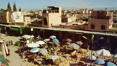 View from the Cave des epices, Marrakesh (jwb-photography) Tags: analog analogue analogfilm istillshootfilm kodak portra 800 pentax color morocco maroc market souq mountains film filmisnotdead travel travelphotography street streetphotography people