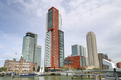 Hotel New York and friends (matthewjoldfield) Tags: rotterdam netherlands holland tourist dock skyscrapers bridge watertaxi