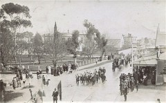 Australia Day parade in Narracoorte, S.A. - 1916 (Aussie~mobs) Tags: australiaday 1916 southaustralia narracoorte crowd march ww1 parade church park street road soldiers spectators shops buildings aussiemobs