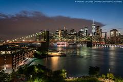 Cloudy Blue Hour (20181007-DSC01890-Edit) (Michael.Lee.Pics.NYC) Tags: newyork manhattanbridge brooklynbridge eastriver brooklynbridgepark empirestores janescarousel lowermanhattan wtc worldtradecenter aerial architecture cityscape night bluehour twilight sony a7rm2 fe24105mmf4g