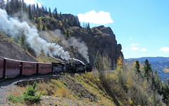 Chugging Up Toward Cumbres Pass (Patricia Henschen) Tags: fallcolors colorado aspen autumn railroad steam steamengine steamlocomotive cumbrestoltec scenicbyway railway track cumbres pass newmexico chama mountain antonito train trains gauge narrowgauge windypoint scenic clouds