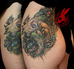 Ram Skull Mushroom Moss Bug Nature Color Realistic 3D Tattoo by Jackie Rabbit