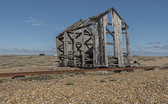 Compact, great views, in need of some repairs (David Feuerhelm) Tags: nikkor outdoors wideangle building shack abandoned shingle rail coast shore sky wood timber dungeness kent uk england nikon d750 2470mmf28