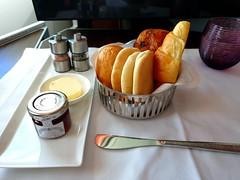Qatar Inflight Breakfast: Bakery & Arabic Bread (:Dex) Tags: bakery bread butter jam breakfast inflightmeal inflightfood food yummy croissant qatarairways qr
