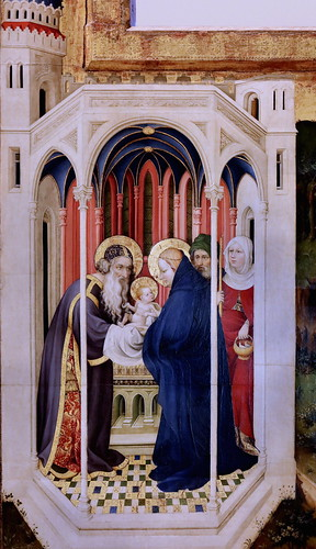 IMG_1190J Melchior Broederlam  peintre actif à Ypres vers 1380 Retable de la Crucifixion. Volet au verso  Présentation au Temple et Fuite en Egypte Dijon Musée des Beaux Arts