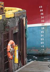 30 Is About Right (peterkelly) Tags: digital canon encarnado 6d gadventures bestoficeland iceland europe djúpivogur harbor harbour red blue numbers dock lifepreserver boat ship rope ladder bollard