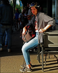 What a Day for a Daydream (HereInVancouver) Tags: younggirl daydream preoccupied seated sidewalk bikehelmet candid streetphotography denmanstreet vancouverswestend vancouver bc canada canong9x city urban