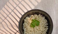Risotto with cilantro. (annick vanderschelden) Tags: cook rice hot prepared spatula wood pan handle black food italian consistency risotto bowl lighteffect cilantro leaf belgium