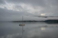 Loan Yacht (Jocey K) Tags: yachts newzealand nikond750 akaora bankspeninsula canterbury hills sea akaroaharbour boats scene landscape seascape sky mist clouds reflections