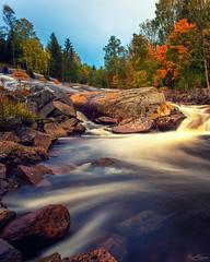 Autumn Glow & River Flow (Kurt Evensen) Tags: norway longexposure autumncolours runningwater waterfall water leefilter seasons le river autumn fall vestfold smooth no