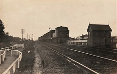 NEAR SURREY HILLS RAILWAY STATION, MELBOURNE, VICTORIA - early 1900s (Aussie~mobs) Tags: vintage australia train surreyhills railwaystation railway tracks aussiemobs melbourne house home lorneparade montalbert tanklocomotive victoria victorianrailways ddeclass suburbantanklocomotive