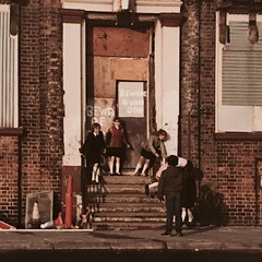 """Beware Guard Dog"", Sefton Street, Liverpool (Towner Images) Tags: brunswickpub liverpool dockroad emilepiper roccopiper towner seftonstreet playing childrenplaying steps pub sevensteps townerimages"
