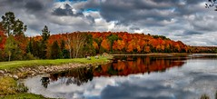Rugg Pond in all of it's glory . . . (Dr. Farnsworth) Tags: ruggpond rapidriver leaves colors bold traffic parking lot full reflections reds oranges yellows greens fernridge mi michigan fall october2018