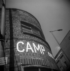 Camp (Andrew Bartram (WarboysSnapper)) Tags: holga hp5 id11 liverpool toycamera plasticlens mediumformat squareformat 120fn baltic