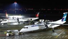 C-FHEN WestJet Encore Bombardier Q400 & C-GGCI Air Canada Express Bombardier Q400@YYJ09Dec18 (Spotter Brandon) Tags: cfhen cggci westjet encore westjetencore aircanada aircanadaexpress aircanadajazz bombardier q400 dh8d dash8 yyj cyyj victoria nightshot longexposure night