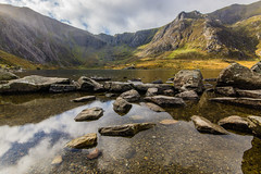 Llyn Idwal #7, Cwm Idwal, Snowdonia, North Wales (Anthony Lawlor) Tags: landscape countryside country wales lake llyn water reflections light sunlight amazing glacier glacial mountains cliffs rocks clouds sky art
