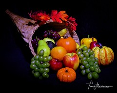 Horn of Plenty (Tom Mortenson) Tags: canon stilllife fruit cornucopia fall harvest autumn colorful colour lightpainting studiophotography hornofplenty wisconsin bounty color vividcolor orange pumpkin grapes basket fruitbasket squash apples leaves usa america northamerica digital pears bountiful stilllifephotography longexposure geotagged wickerbasket canon6d canoneos 24105l