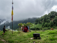 Morning prayer (karmajigme) Tags: prayers religious tradition travel bhutan himalaya village asia green clouds nature colorful
