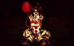 Wanna play? (Ember Adored) Tags: irrisistible belleza catwahead catwaappliers catwamakeup clown secondlifehalloween costumes secondlifefashion secondlifeblog secondlifegifts freepose insomniaangel sl emberadored